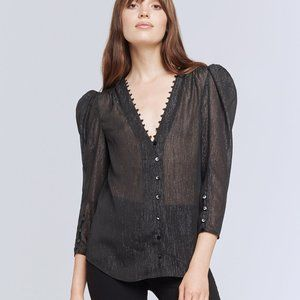 L'Agence Kimberly Puff Sleeve Blouse in Black